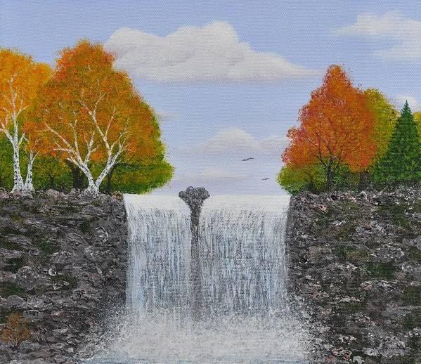 Autumn Landscape Art Print featuring the painting Autumn Waterfall by Georgeta Blanaru