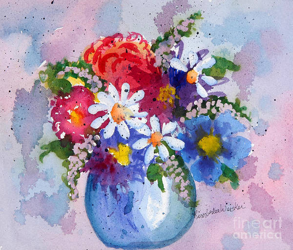 Daisies Art Print featuring the painting Company Again by Kimberlee Weisker