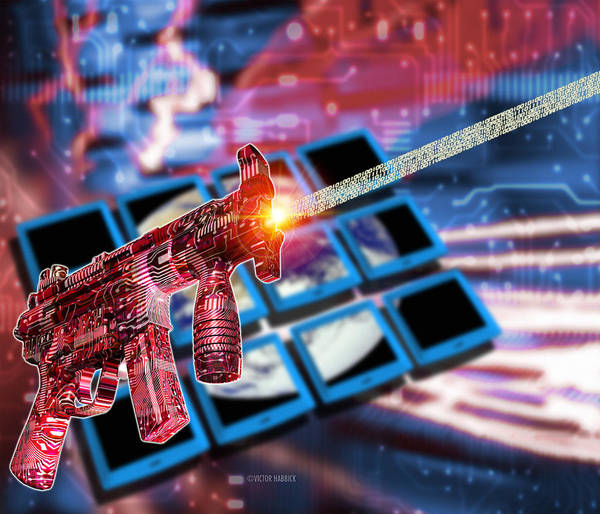 Terrorism Art Print featuring the photograph Internet Terrorism by Victor Habbick Visions