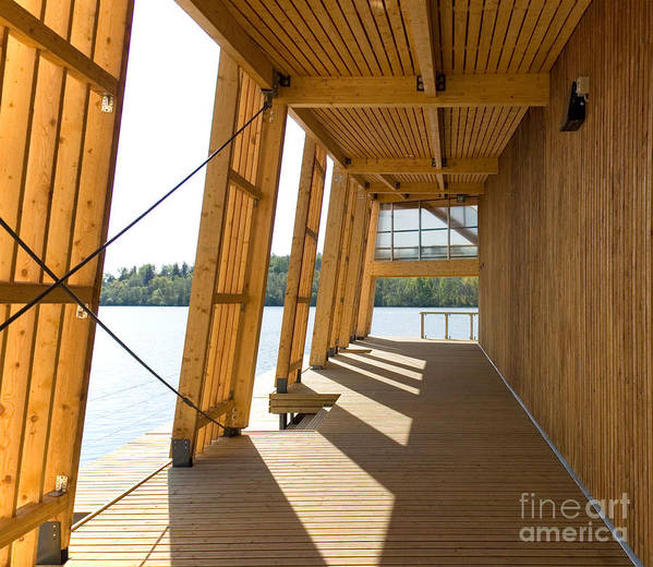 Architectural Art Print featuring the photograph Lakeside Building And Dock by Jaak Nilson