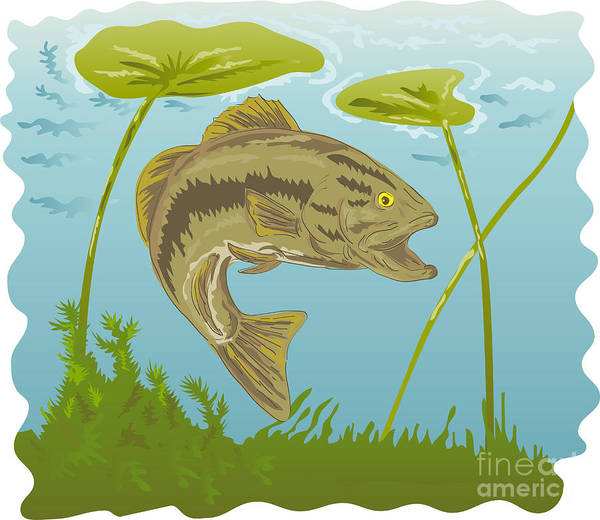 Largemouth Art Print featuring the digital art Largemouth Bass Jumping by Aloysius Patrimonio