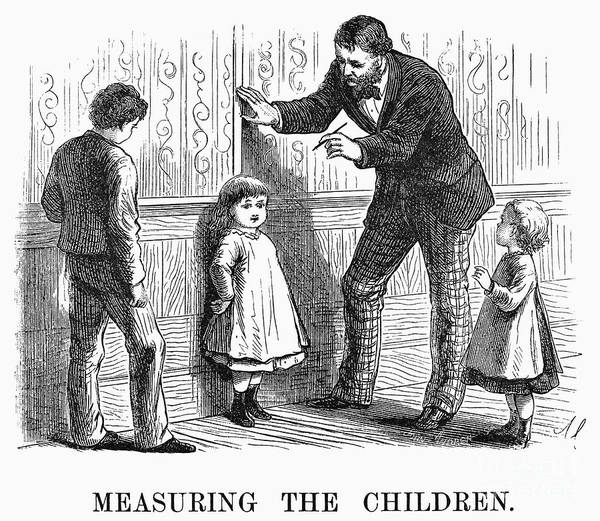 1876 Art Print featuring the photograph Measuring Children, 1876 by Granger