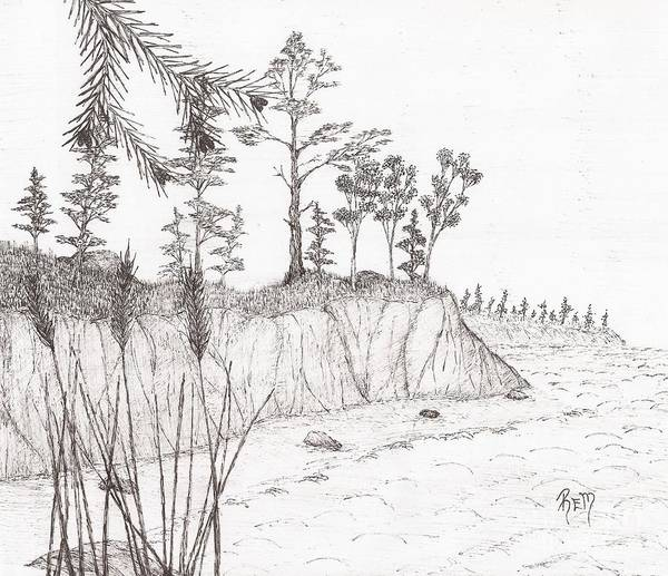 Pen And Ink Art Print featuring the drawing North Shore Memory... - Sketch by Robert Meszaros