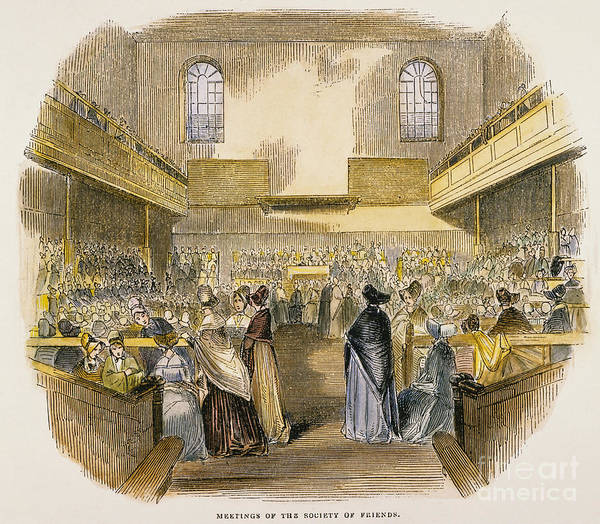 1843 Art Print featuring the photograph Quaker Meeting, 1843 by Granger