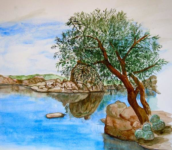 Watson Lake Prescott Arizona Peaceful Waters Art Print featuring the painting Watson Lake Prescott Arizona Peaceful Waters by Sharon Mick