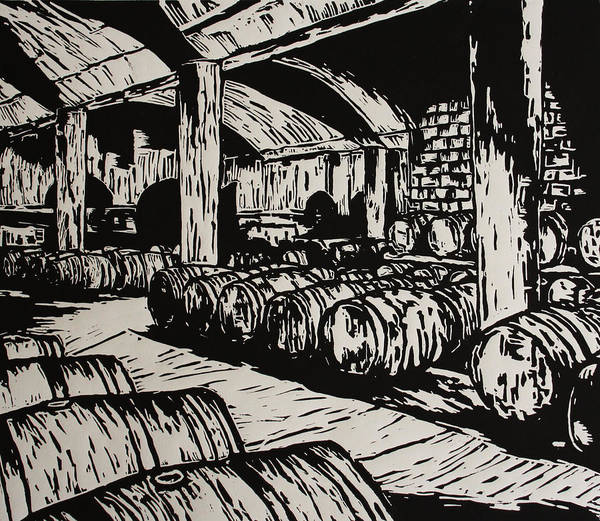 Wine Cellar Art Print featuring the drawing Wine Cellar by William Cauthern