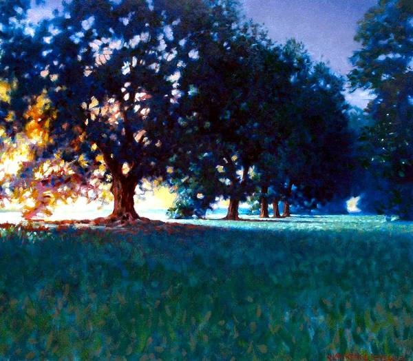 Oak Art Print featuring the painting Five Oaks by Kevin Lawrence Leveque