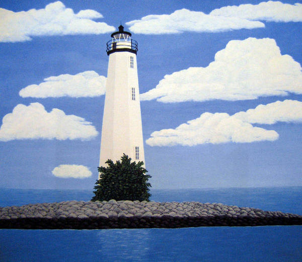 Lighthouse Paintings Art Print featuring the painting New Point Comfort Lighthouse by Frederic Kohli