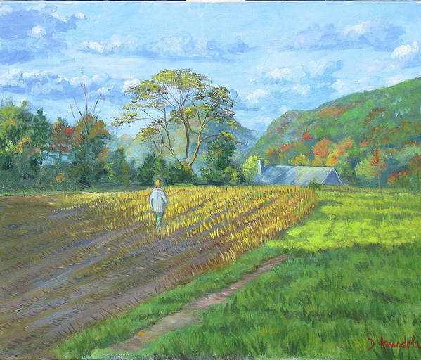 Harvest Art Print featuring the painting After The Harvest by Dominique Amendola