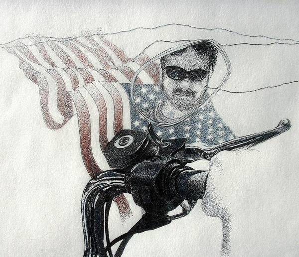 Motorcycles Harley American Flag Cycles Biker Art Print featuring the drawing American Rider by Tony Ruggiero