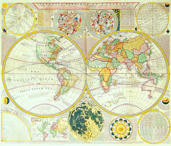 Antique maps of the world double hemisphere world map samuel dunn c antique maps of the world art print featuring the painting antique maps of the world double gumiabroncs Gallery