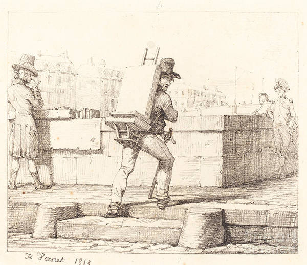 Art Print featuring the drawing Artist Carrying Easel With A Lithographic Stone by Horace Vernet