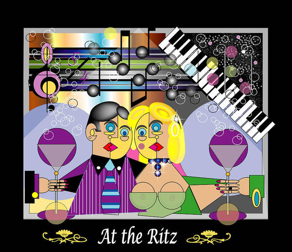 Mgiclee Art Print featuring the digital art At The Ritz Bar by George Pasini