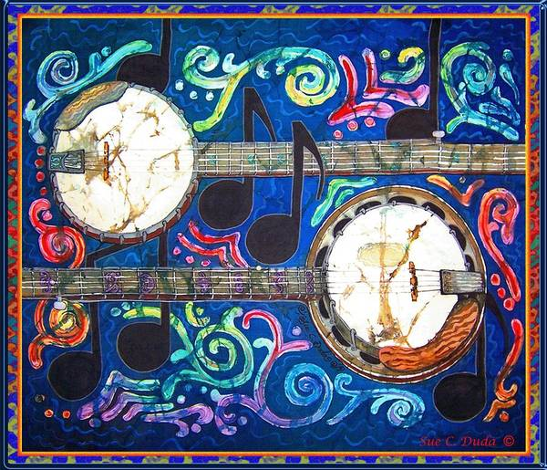 Banjo Art Print featuring the painting Banjos - Bordered by Sue Duda