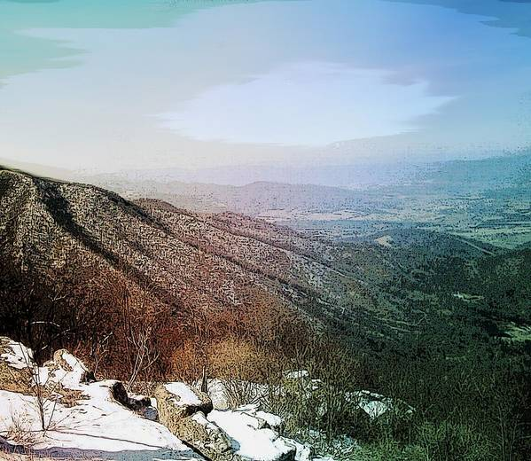 Blue Ridge Mountains Shenandoah Valley Virginia Usa Landscape Panorama Trees Rocks Snow Winter Sky. Art Print featuring the photograph Blue Ridge by Susan Epps Oliver