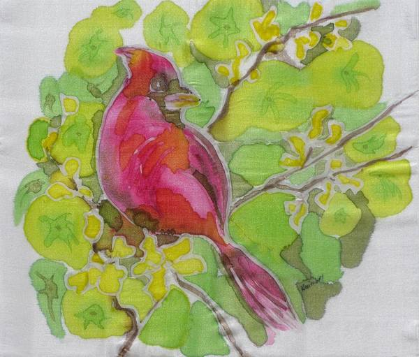 Bird Art Print featuring the painting Cardinal In Palo Verde by Kathy Mitchell