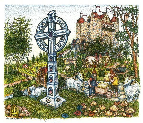 Castle Art Print featuring the drawing Castle Cross by Bill Perkins