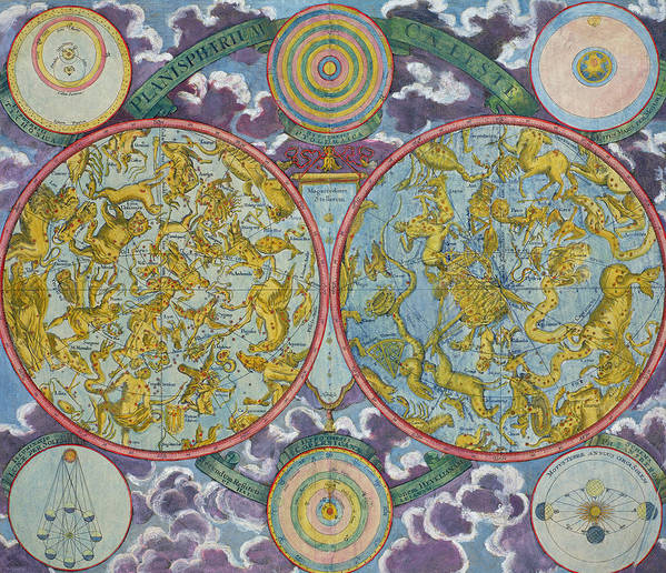 Art Print featuring the drawing Celestial Map Of The Planets by Georg Christoph Eimmart