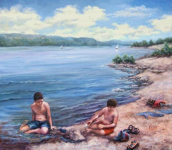 Beach Art Print featuring the painting Childhood Toys And Sandy Boys by Virginia Potter