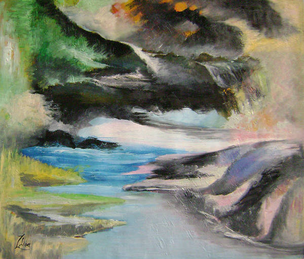 Abstract Art Print featuring the painting Chinese Landscape 1 by Lian Zhen