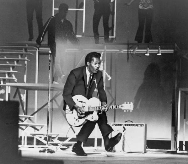 History Print featuring the photograph Chuck Berry B. 1926 On Stage, Playing by Everett