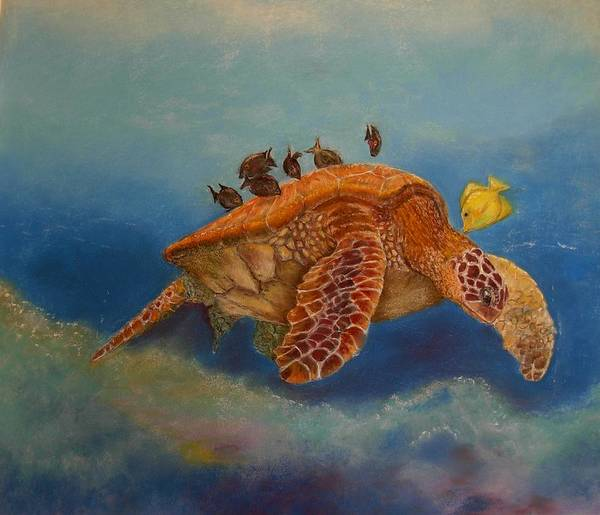 Turtle Art Print featuring the painting Cleaning Station by Ceci Watson