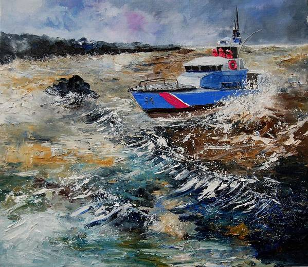 Sea Art Print featuring the painting Coastguards by Pol Ledent