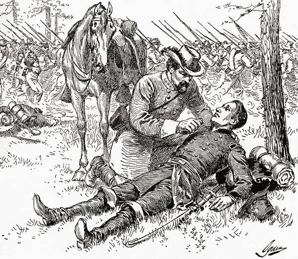 Civil War Art Print featuring the drawing Confederate General John Brown Gordon Assists Wounded Union General Francis Channing Barlow by American School