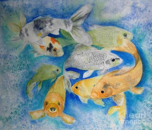 Water Art Print featuring the painting Coy Koi by Vivian Mosley