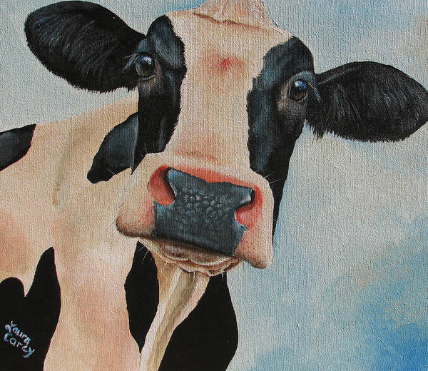 Cow Art Print featuring the painting Curiosity by Laura Carey