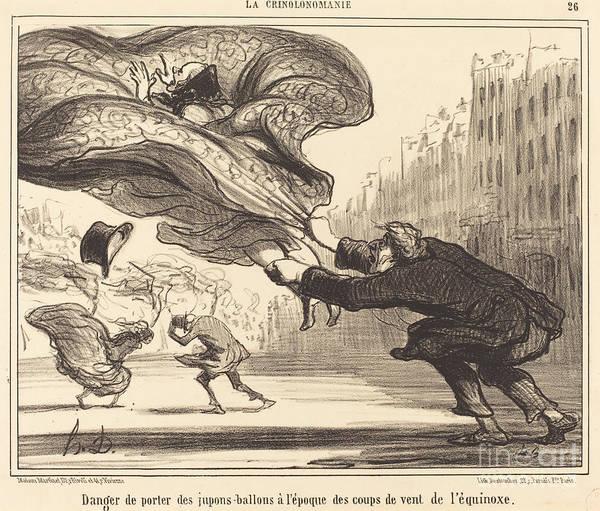 Art Print featuring the drawing Danger De Porter Des Jupons-ballons... by Honor? Daumier