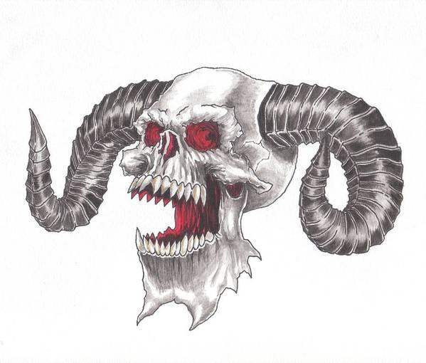 demon skull art print by chris randall
