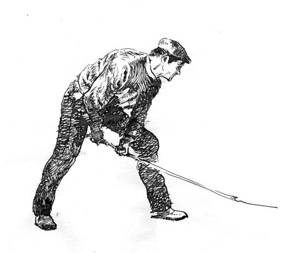 Figurative Art Print featuring the drawing Digging. by Jose Carvalhosa