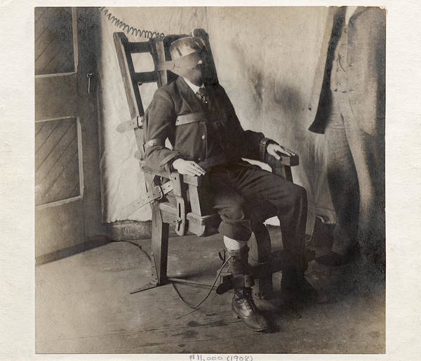 Human Print featuring the photograph Electric Chair, 1908 by The Branch Librariesnew York Public Library