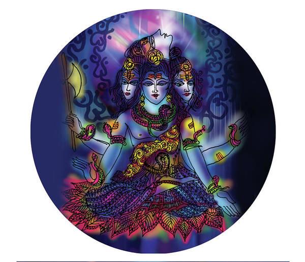Shiva Art Print featuring the painting Enlightened Shiva by Guruji Aruneshvar Paris Art Curator Katrin Suter