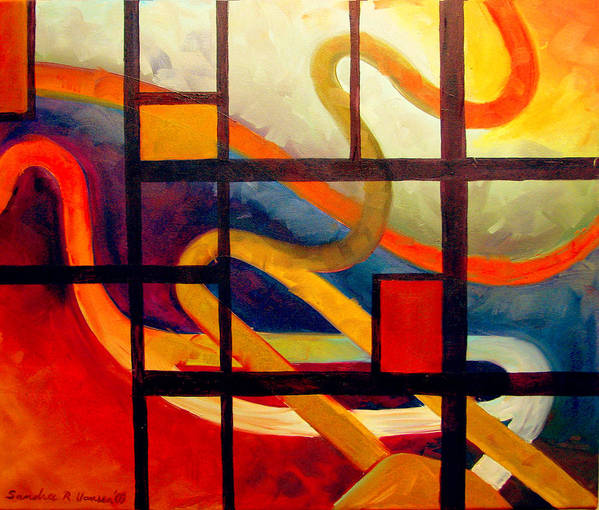 Abstract Art Print featuring the painting Escape Plan by Art Nomad Sandra Hansen