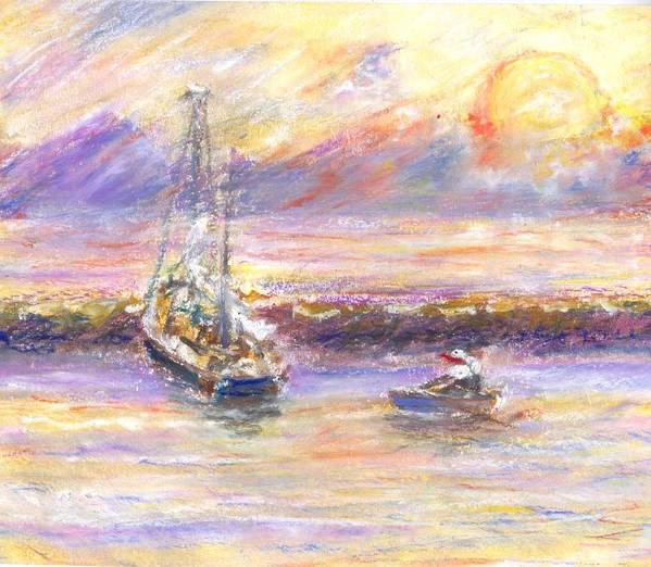 Sunset Art Print featuring the painting Evening Tide by Ana Bikic