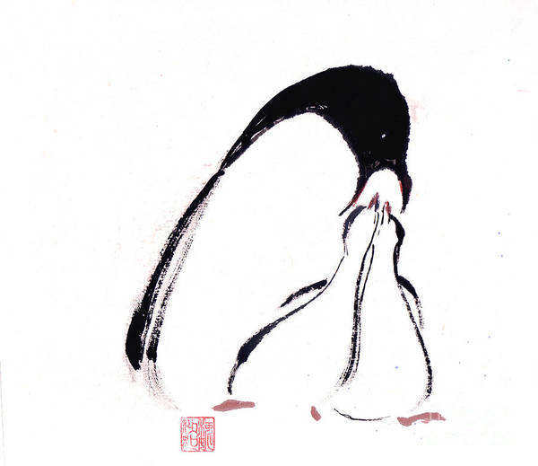 An Adult Penguin Feeding The Babies. This Is A Contemporary Chinese Ink And Color On Rice Paper Painting With Simple Zen Style Brush Strokes.  Art Print featuring the painting Feeding by Mui-Joo Wee