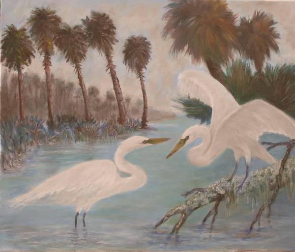 Egret Art Print featuring the painting First Meeting by Ben Kiger