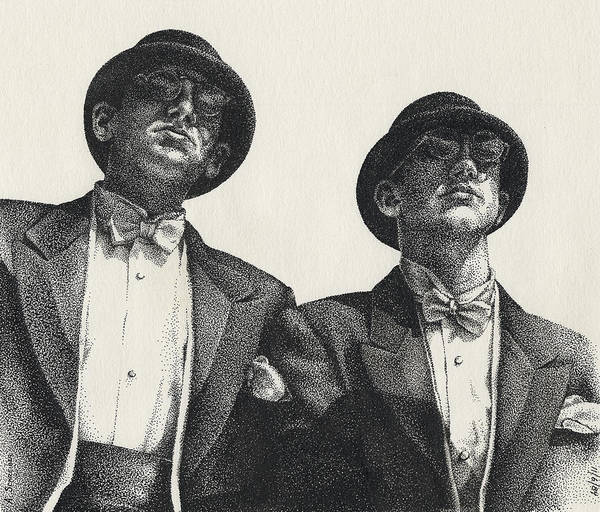 Male Art Print featuring the drawing Gents by Amy S Turner