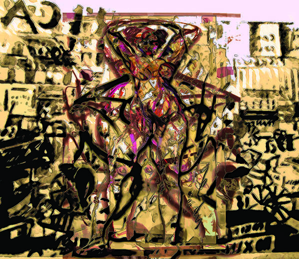Graphiti Art Print featuring the painting Grafiti Dance by Noredin Morgan
