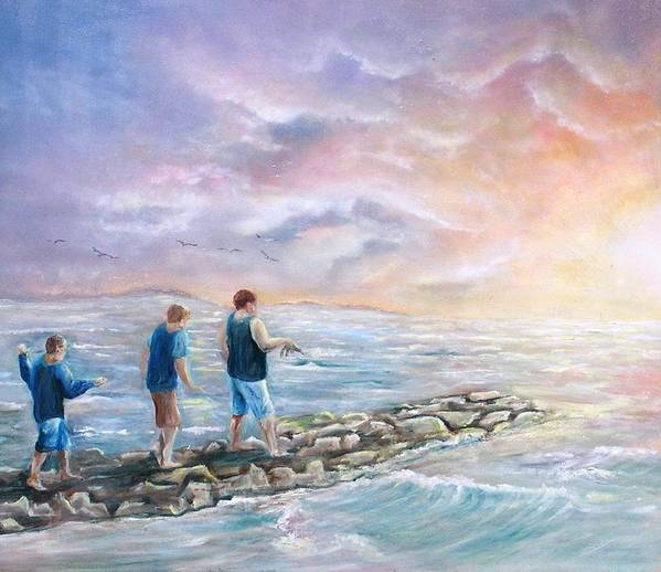 Seascape Art Print featuring the painting Into The Sunset by Renee Dumont Museum Quality Oil Paintings Dumont