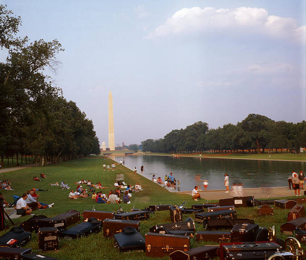 Water washington Monument Lawn Grass Music People Art Print featuring the photograph July In Dc by Lawrence Costales