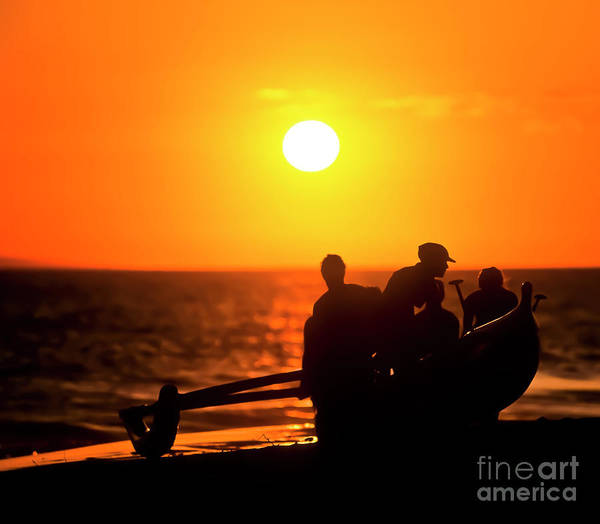 Hawai'i Art Print featuring the photograph Kaanapali Beach Outrigger Sunset by Jim Cazel