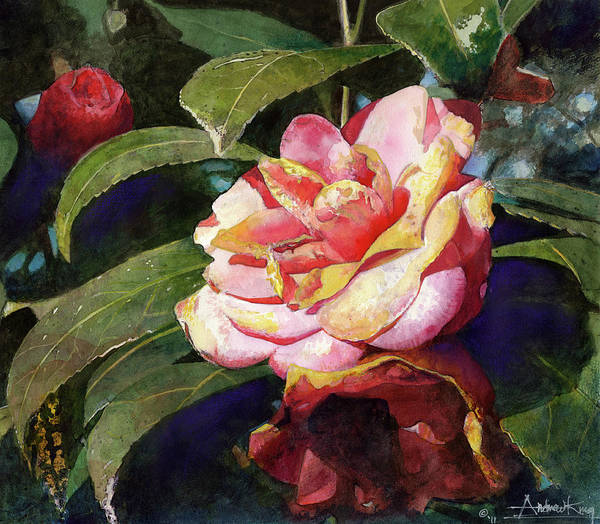 Flower Art Print featuring the painting Karma Camellia by Andrew King