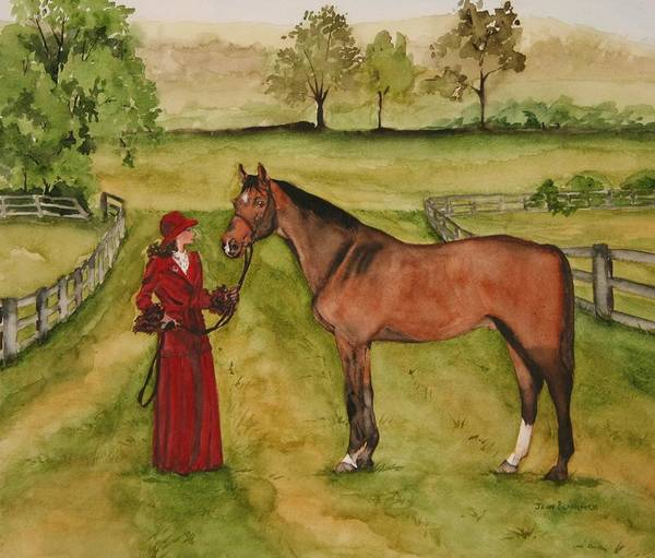 Horse Art Print featuring the painting Lady And Horse by Jean Blackmer