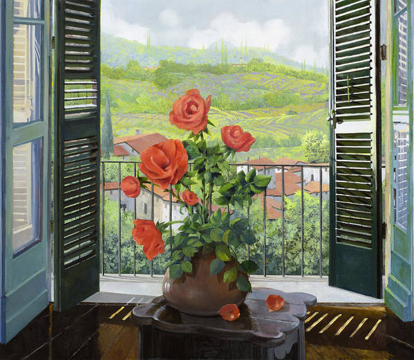 Landscape Art Print featuring the painting Le Persiane Sulla Valle by Guido Borelli