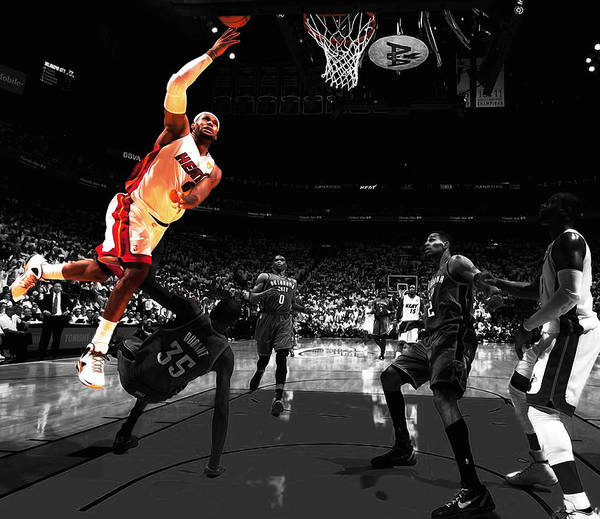 e5e9201c46b2 Lebron James Art Print featuring the mixed media Lebron Over Durant by Brian  Reaves