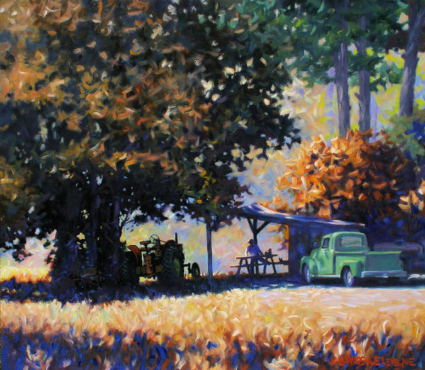 Rural Art Print featuring the painting Lunch by Kevin Lawrence Leveque