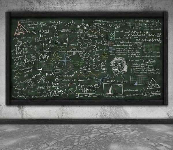 Algebra Art Print featuring the photograph Maths Formula On Chalkboard by Setsiri Silapasuwanchai